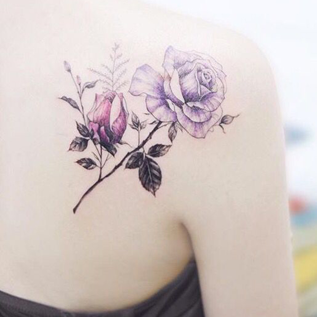 tatouage rose epaule dos. Black Bedroom Furniture Sets. Home Design Ideas