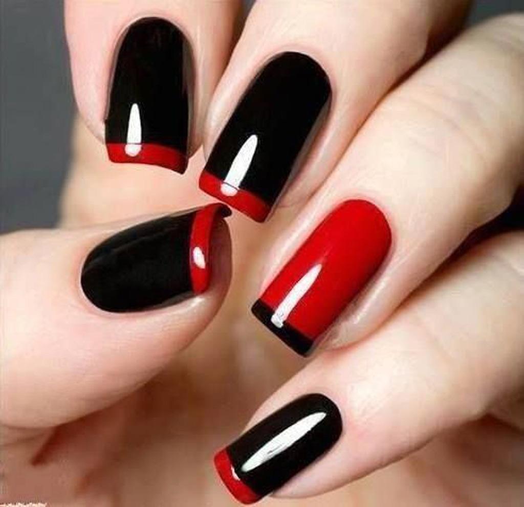 la french manucure rouge et noir manucure de halloween 35 mod les plus chics que cheap elle. Black Bedroom Furniture Sets. Home Design Ideas
