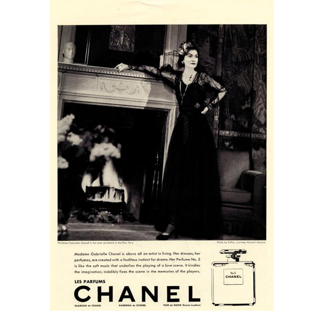 chanel n 5 par mademoiselle coco en 1937 chanel n 5 les campagnes pub d un parfum de l gende. Black Bedroom Furniture Sets. Home Design Ideas