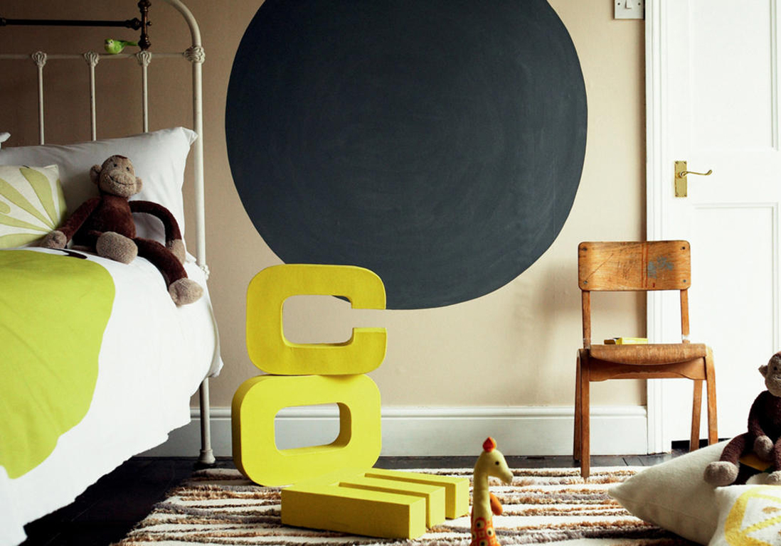 Peinture chambre enfant nos id es pleines de style - Peindre un pan de mur ...