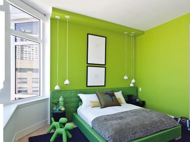 Des chambres hautes en couleurs elle d coration - Chambre noir et vert ...