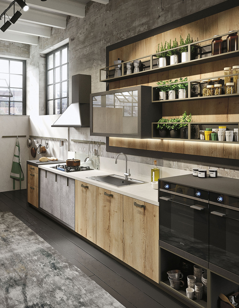 decoration cuisine industrielle. Black Bedroom Furniture Sets. Home Design Ideas