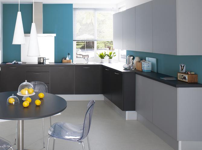 Craquez pour une cuisine grise elle d coration - Cuisine couleur gris bleu ...