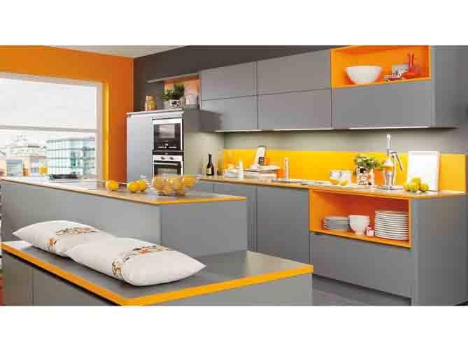 Craquez pour une cuisine grise elle d coration - Cuisine orange et gris ...