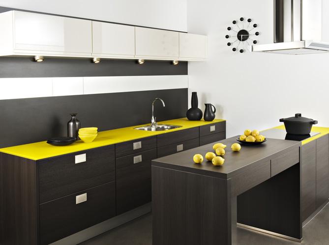 La cr me des cuisines design elle d coration - Cuisine grise et jaune ...