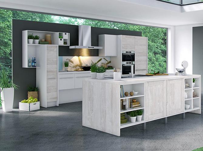 Decoration Cuisine Campagne : Une cuisine design délimitée par des étagères