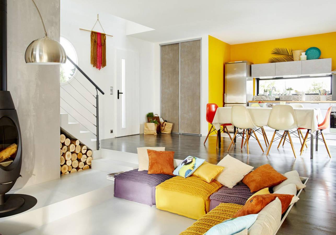 amenager petit salon avec cuisine ouverte beautiful. Black Bedroom Furniture Sets. Home Design Ideas