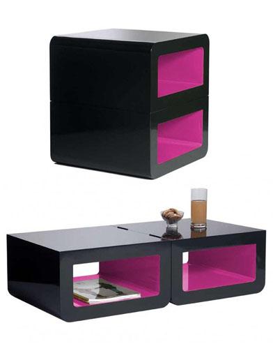 petits espaces on mise sur des l ments modulables. Black Bedroom Furniture Sets. Home Design Ideas