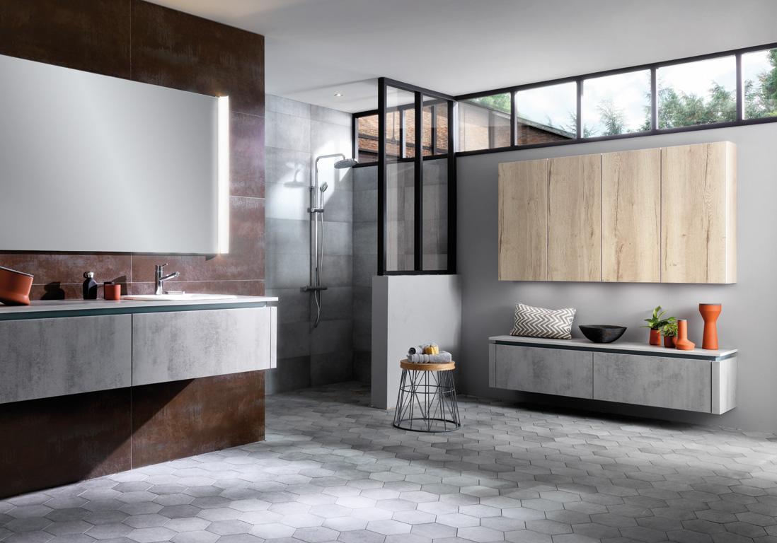 15 salles de bains grises elle d coration. Black Bedroom Furniture Sets. Home Design Ideas