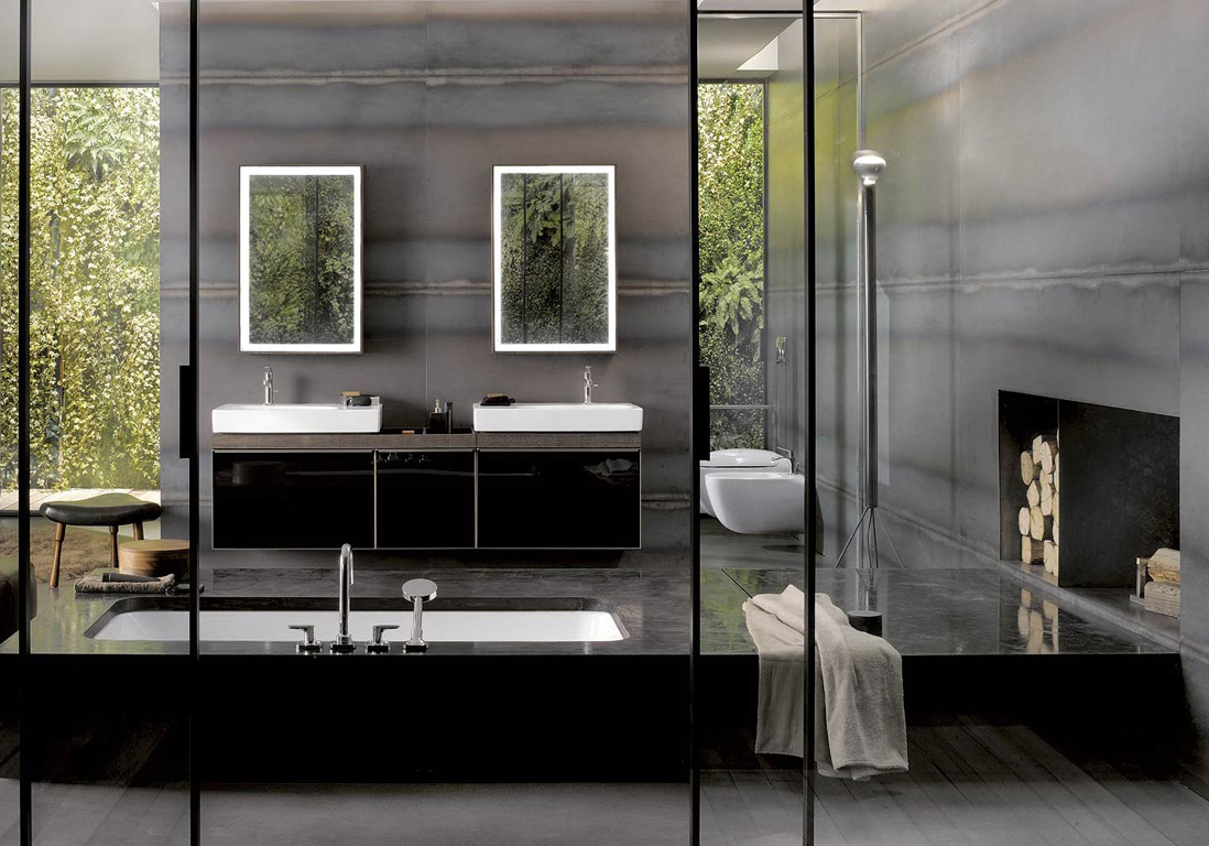 15 salles de bains grises elle d coration. Black Bedroom Furniture Sets. Home Design Ideas