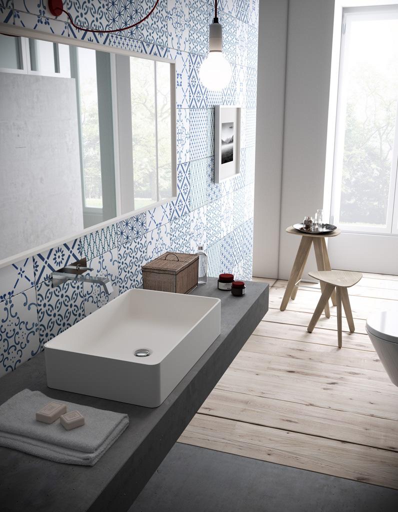 D couvrez les plus belles salles de bains bleues elle for Elle deco salle de bain