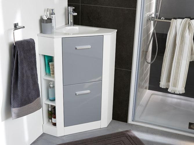 40 meubles pour une petite salle de bains elle d coration for Meuble salle de bain angle