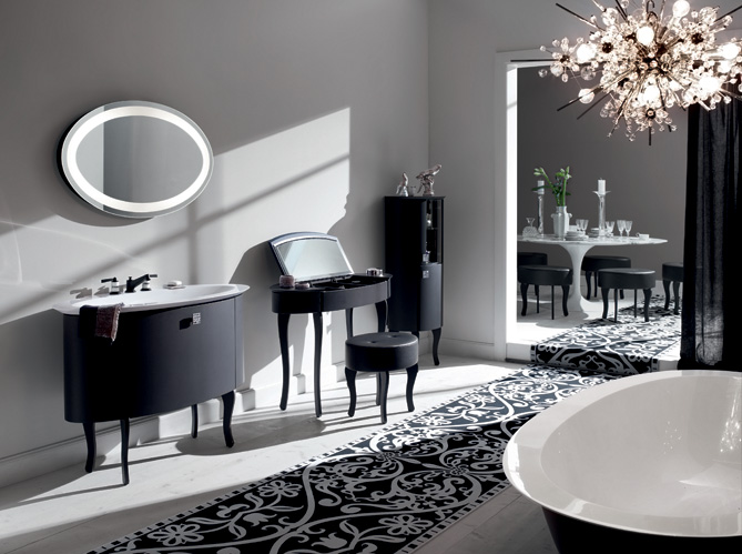 La salle de bains s 39 habille en noir et blanc elle d coration - Meuble salle de bain romantique ...
