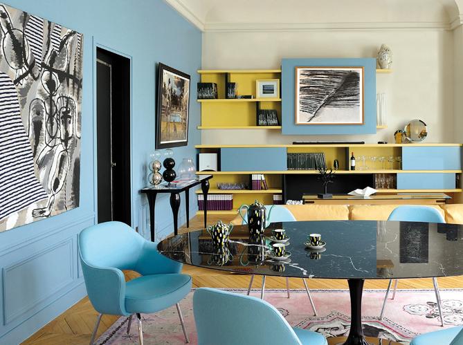 Peinture salon bleu vintage for Peinture salon bleu vintage