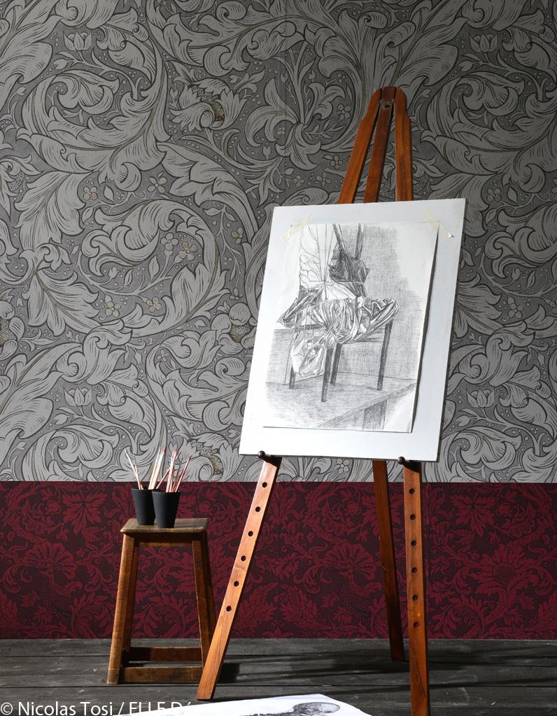 papier peint salon rouge