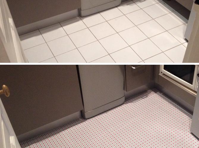 Changer le sol de sa cuisine en 1 heure elle d coration - Sol vinyl pour cuisine ...