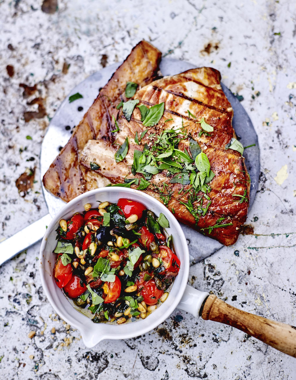 Espadon grill sauce aux tomates cerises et c pres - Steak d espadon grille sauce combava ...
