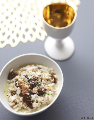 risotto de crozets aux morilles s ch es pour 4 personnes recettes elle table. Black Bedroom Furniture Sets. Home Design Ideas