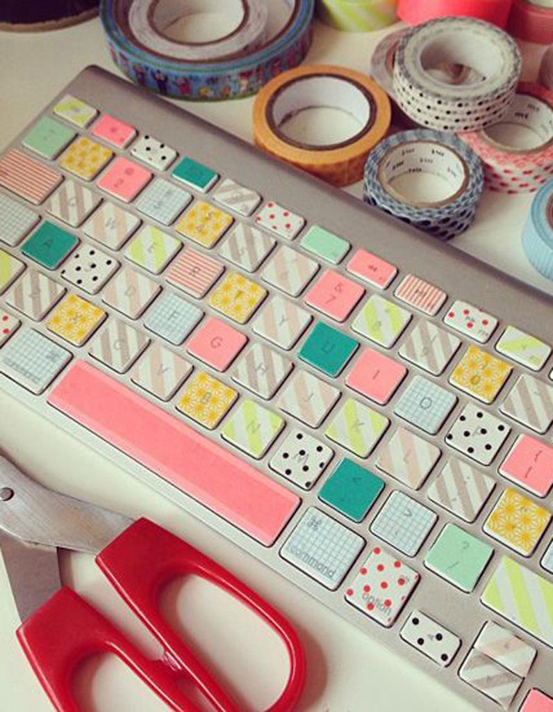 masking tape clavier d 39 ordinateur masking tape 20 diy fun et color s pour s 39 inspirer elle. Black Bedroom Furniture Sets. Home Design Ideas