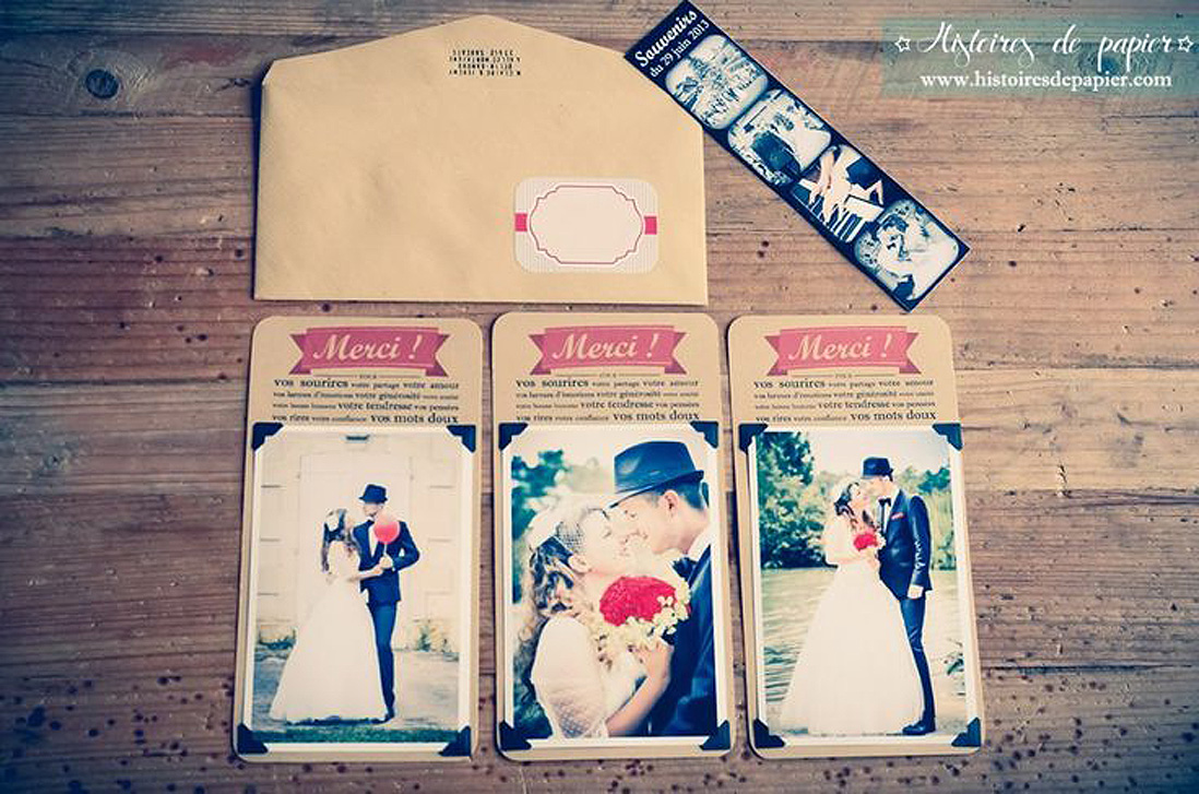 carte de remerciement mariage avec photo 20 cartes de remerciement qui changent elle. Black Bedroom Furniture Sets. Home Design Ideas