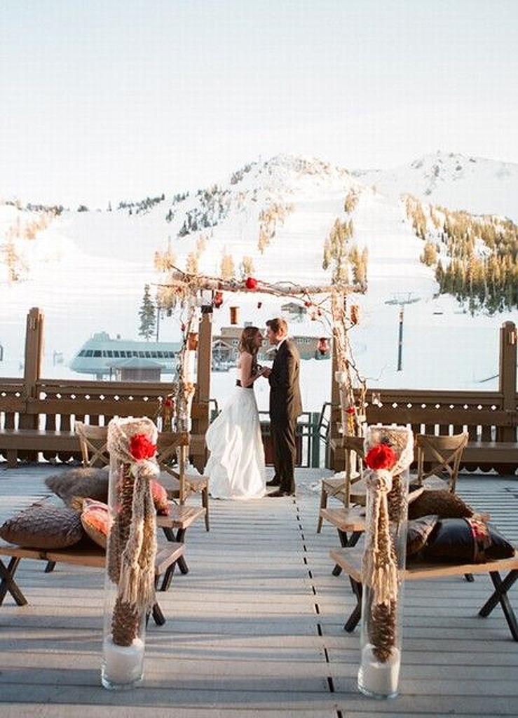 Mariage hiver à la montagne