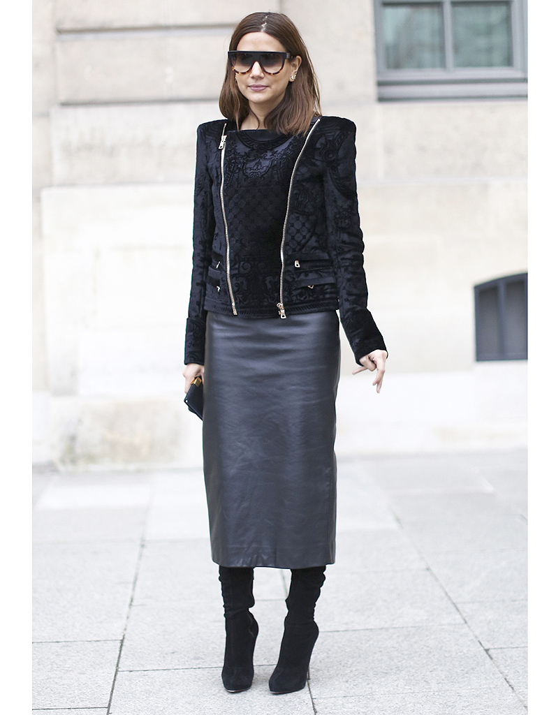la jupe crayon en cuir street style elles portent d j les tendances de la rentr e elle. Black Bedroom Furniture Sets. Home Design Ideas
