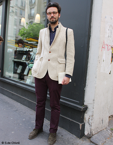 mode tendance street style look homme aurelio street style honneur aux hommes elle. Black Bedroom Furniture Sets. Home Design Ideas