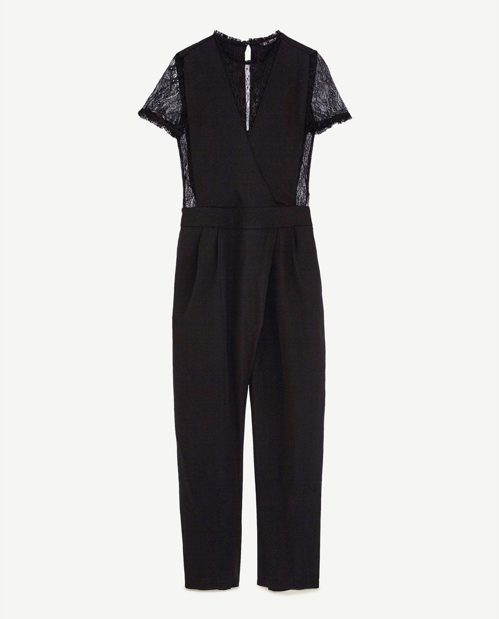 combinaison pantalon en dentelle noire zara chic et f minine en combi pantalon elle. Black Bedroom Furniture Sets. Home Design Ideas