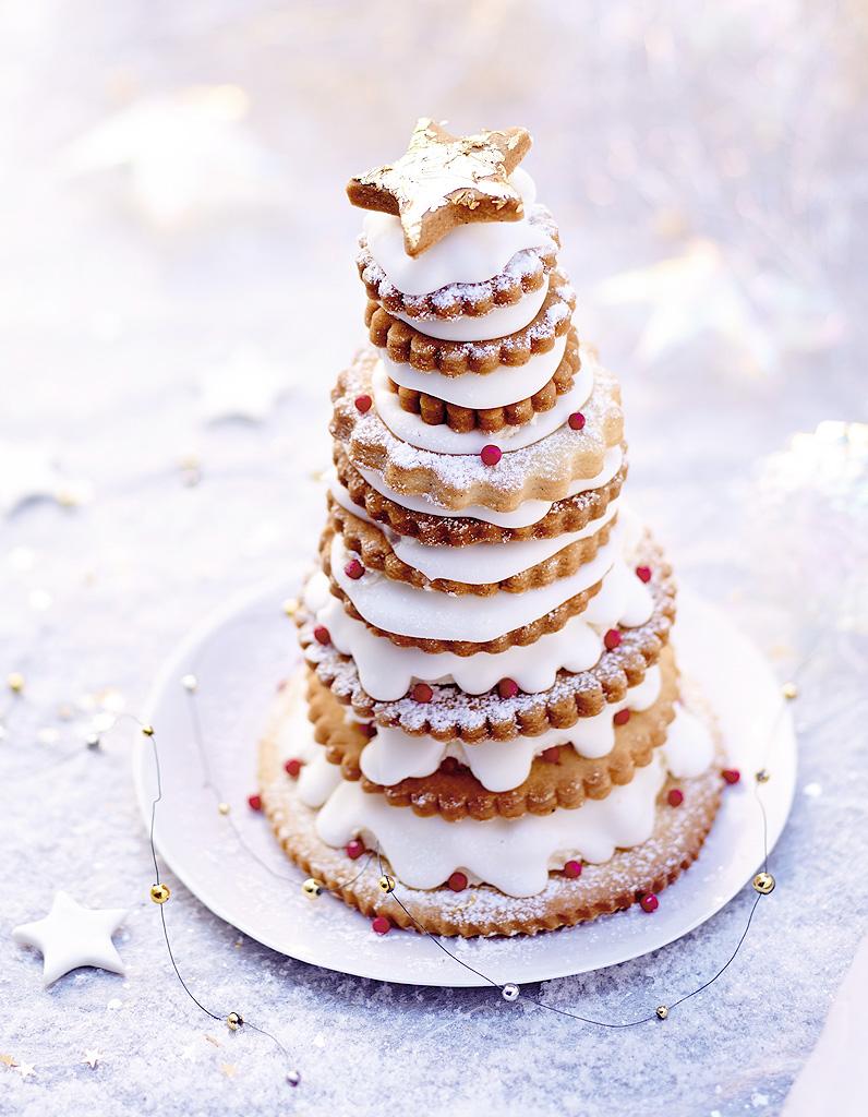 Pyramide de biscuits la cr me pour 6 personnes recettes elle - Biscuit de noel facile ...